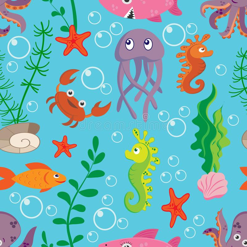 Modelo inconsútil brillante con vida marina: medusas, cangrejo, pescado, pulpo, tiburón en fondo azul stock de ilustración