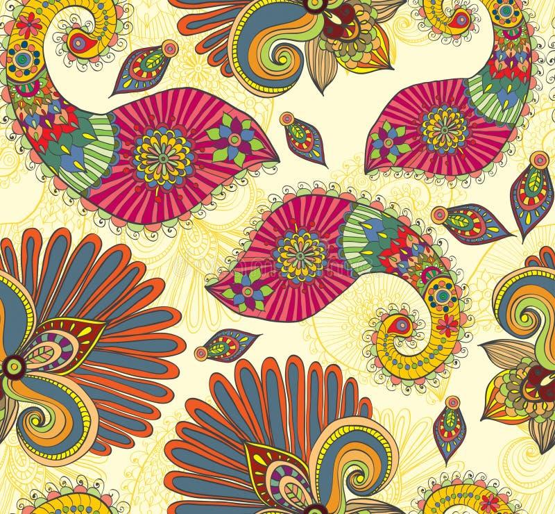 Modelo inconsútil brillante floral con las flores y Paisley del doodle ilustración del vector