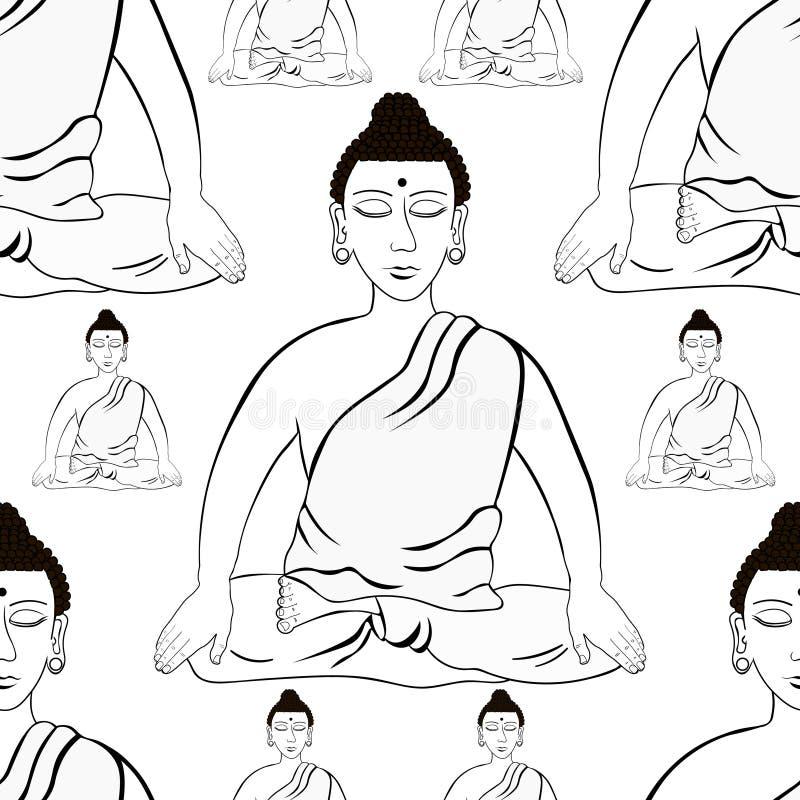 Modelo inconsútil Buda que se sienta en la meditación india c del loto ilustración del vector