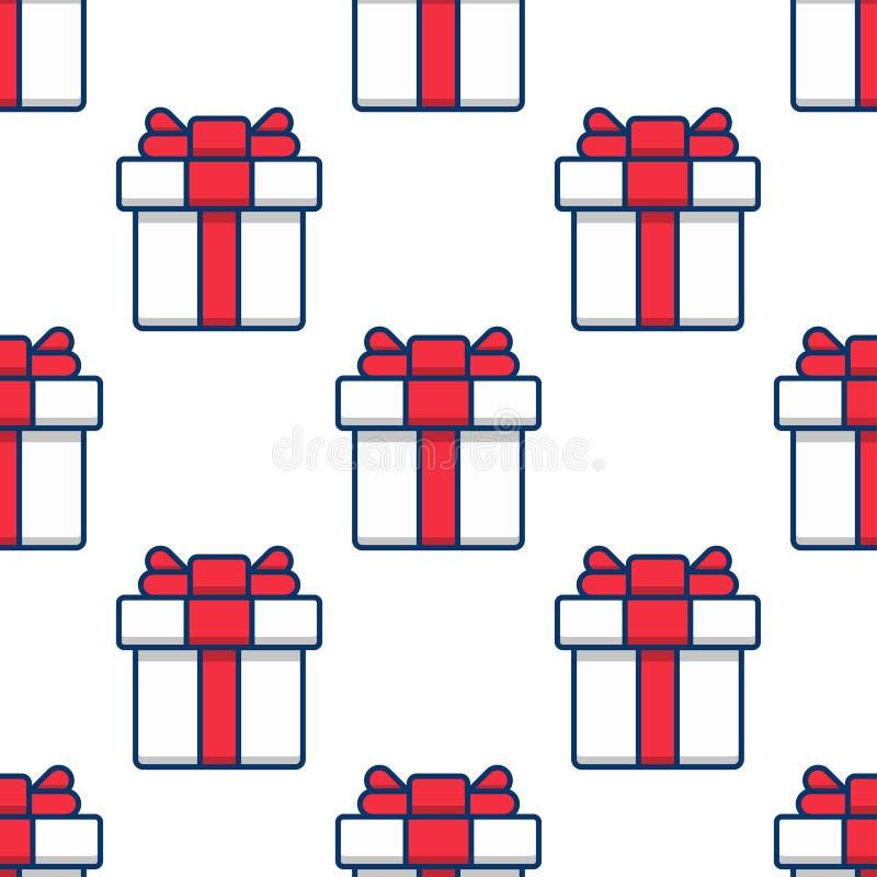 Modelo inconsútil, cajas de regalo en el fondo blanco stock de ilustración
