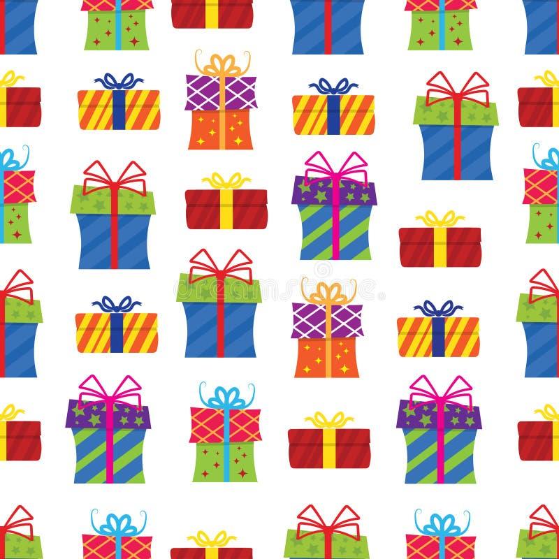 Modelo inconsútil, cajas de regalo en el fondo blanco libre illustration
