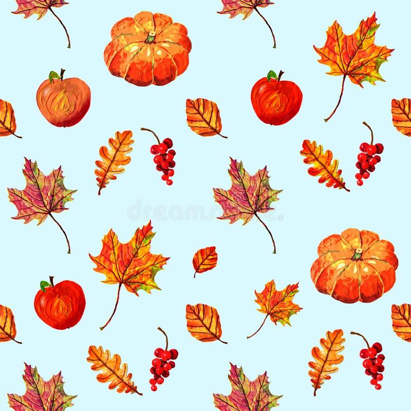 Modelo inconsútil caliente agradable con las calabazas, las manzanas, las hojas de otoño y las bayas libre illustration