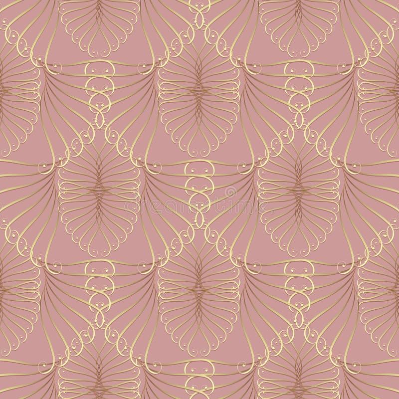 Modelo inconsútil caligráfico 3d del oro del vintage Backg rosado del vector ilustración del vector