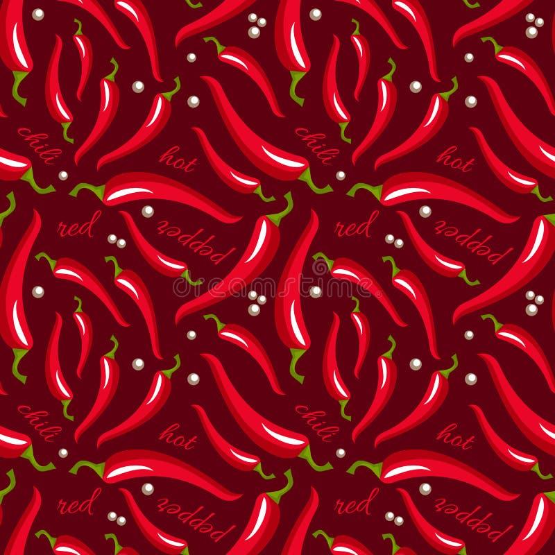 Modelo inconsútil candente de las pimientas de chile del vector ilustración del vector
