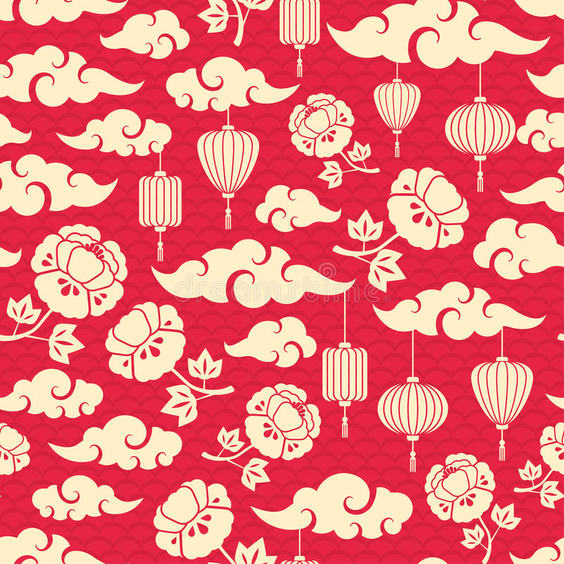 Modelo inconsútil chino con las nubes stock de ilustración