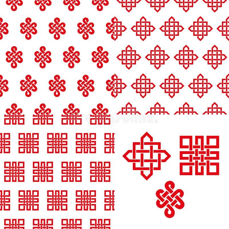 Modelo inconsútil chino de los nudos sin fin propicios Rojo stock de ilustración