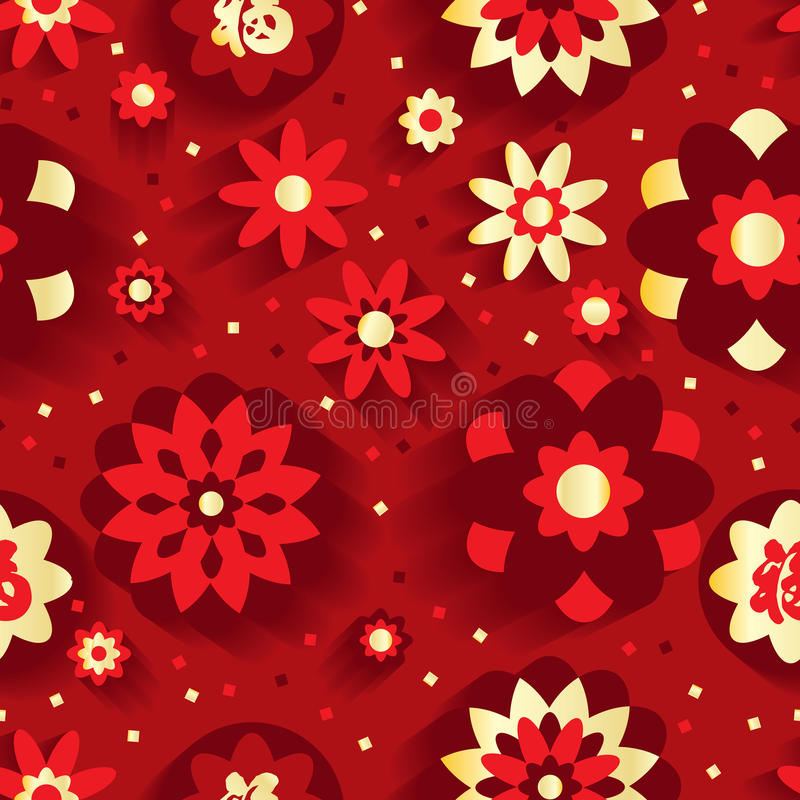 Modelo inconsútil chino del Año Nuevo de la flor stock de ilustración