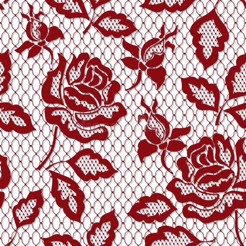 Modelo inconsútil color de rosa rojo del cordón con la rosa en fondo transparente ilustración del vector