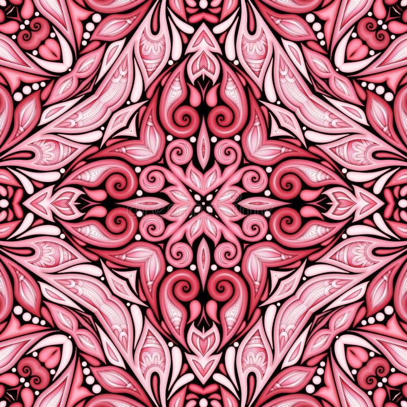 Modelo inconsútil coloreado con adornos étnicos florales ilustración del vector