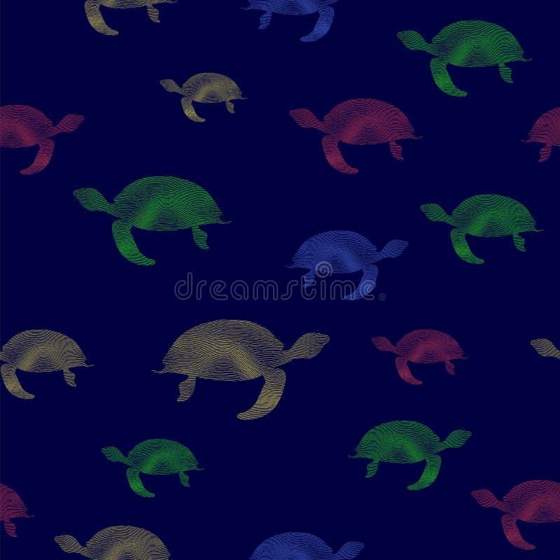 Modelo inconsútil coloreado del icono de las tortugas ilustración del vector