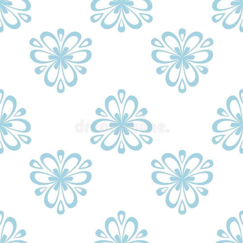 Modelo inconsútil coloreado floral Fondo azul y blanco con los elementos del fower para los papeles pintados ilustración del vector