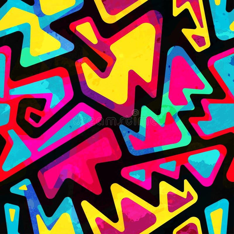 Modelo inconsútil coloreado psicodélico con efecto del grunge stock de ilustración