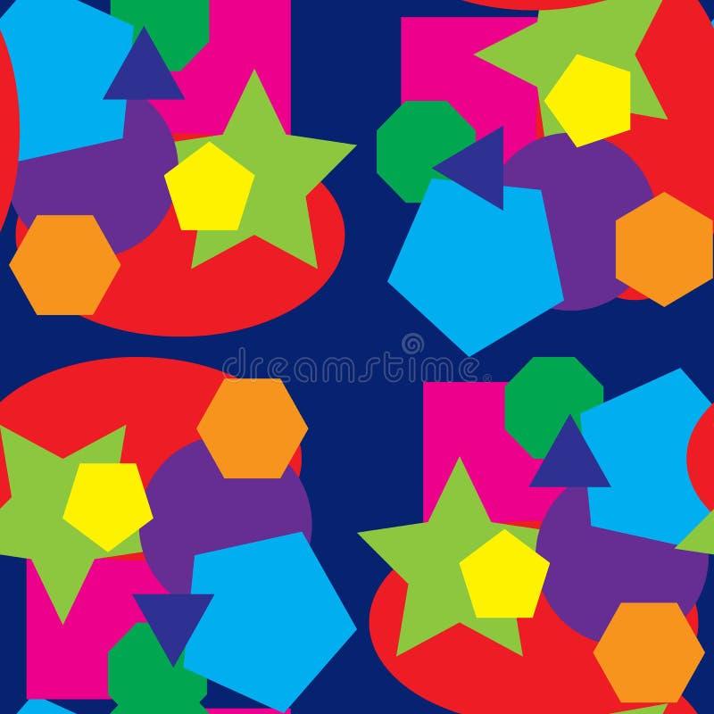 Modelo inconsútil coloreado vector y diversas formas ilustración del vector