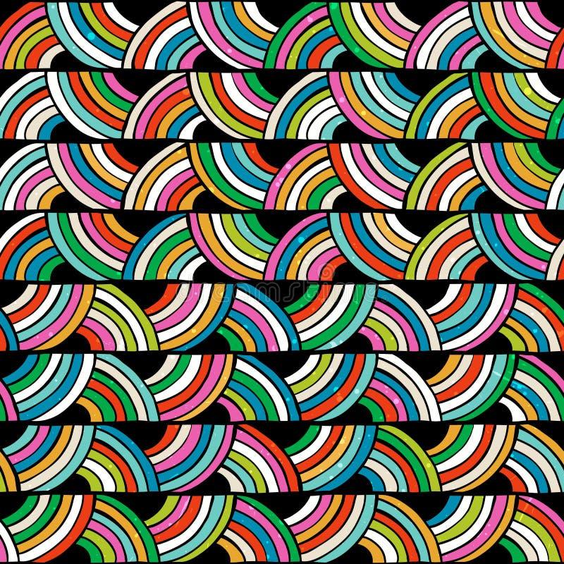 Modelo inconsútil colorido brillante Mano drenada ilustración del vector
