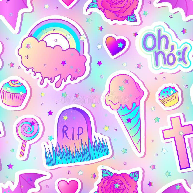 Modelo inconsútil colorido: caramelos, dulces, arco iris, helado, t stock de ilustración