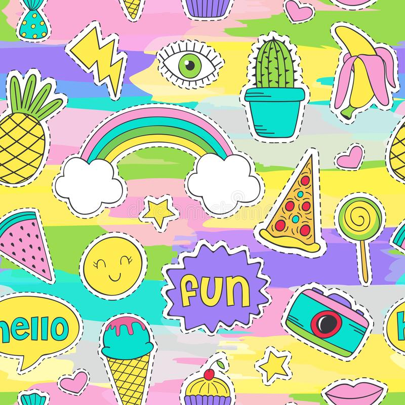 Modelo inconsútil colorido con las etiquetas engomadas divertidas libre illustration