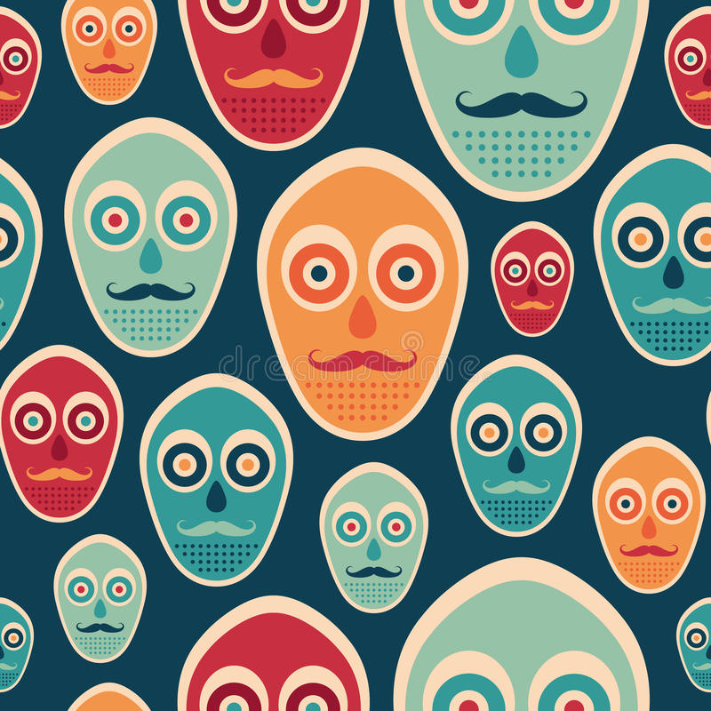 Modelo inconsútil colorido con las máscaras del inconformista stock de ilustración