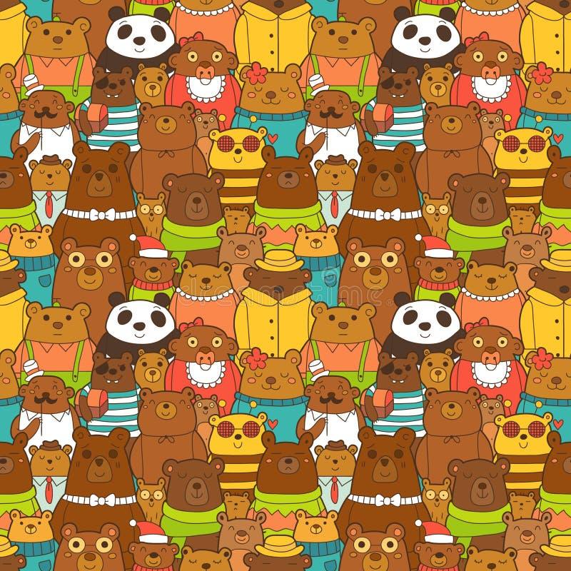 Modelo inconsútil colorido con los osos marrones divertidos ilustración del vector
