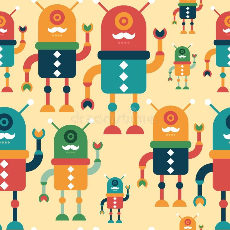 Modelo inconsútil colorido con los robots felices del inconformista ilustración del vector