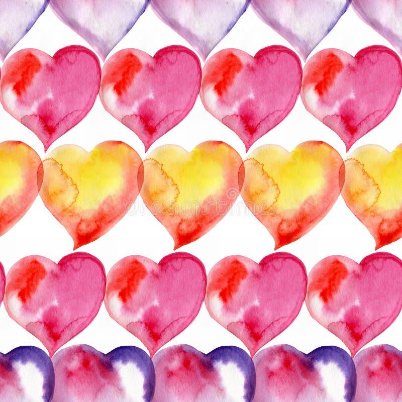 Modelo inconsútil colorido de corazones Rose roja watercolor libre illustration
