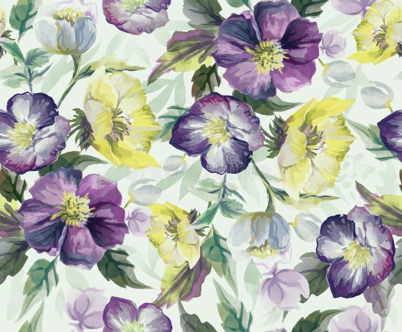 Modelo inconsútil colorido de flores watercolor stock de ilustración