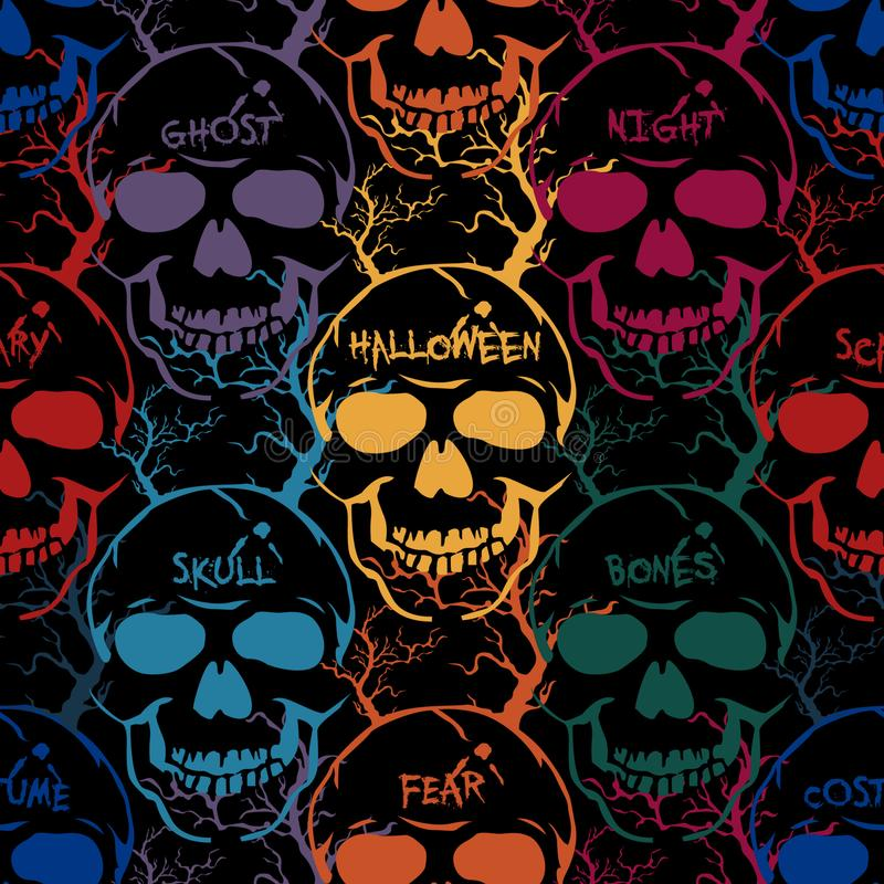 Modelo inconsútil colorido de Halloween Vector el fondo abstracto con los cráneos, las palabras y los árboles imagen de archivo libre de regalías