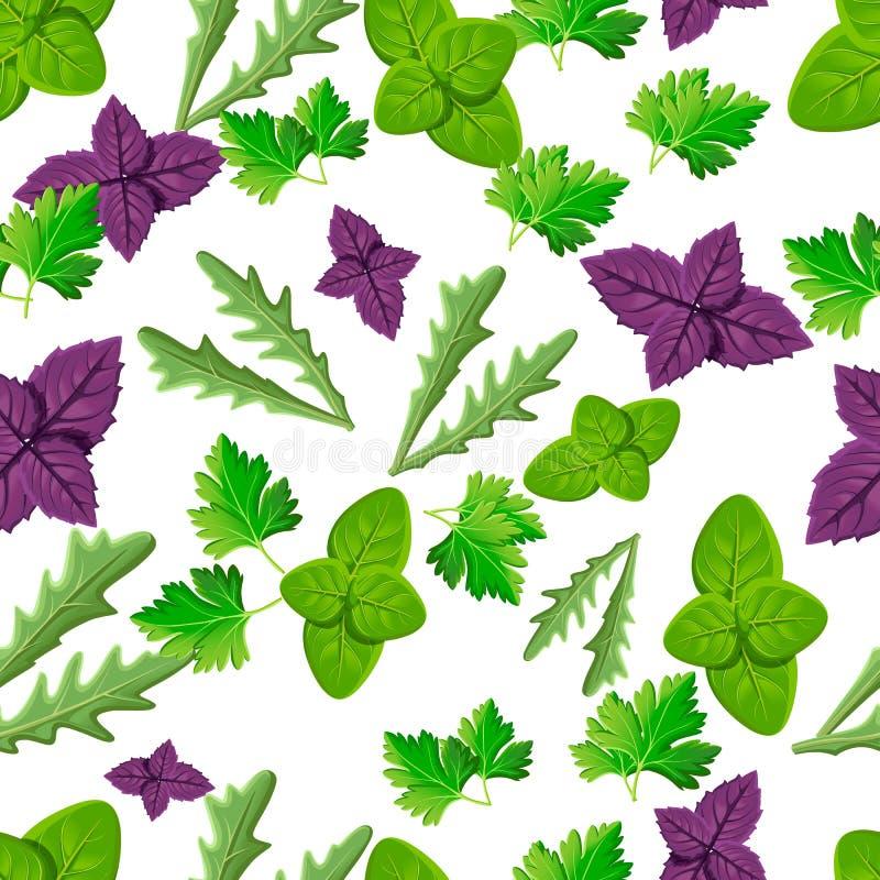 Modelo inconsútil colorido de la impresión con orégano, albahaca, arugula y perejil Ejemplo grabado herbario del estilo Produ org stock de ilustración