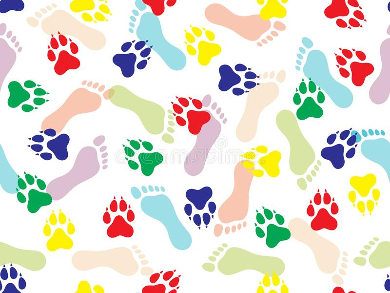 Modelo inconsútil colorido de la impresión de pies humanos desnudos y del animal en el fondo blanco Ilustraci?n del vector stock de ilustración