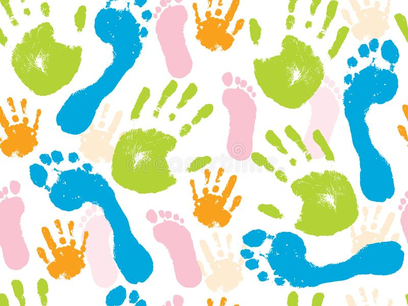 Modelo inconsútil colorido de la palma humana de la mano y del pie Ilustraci?n del vector ilustración del vector