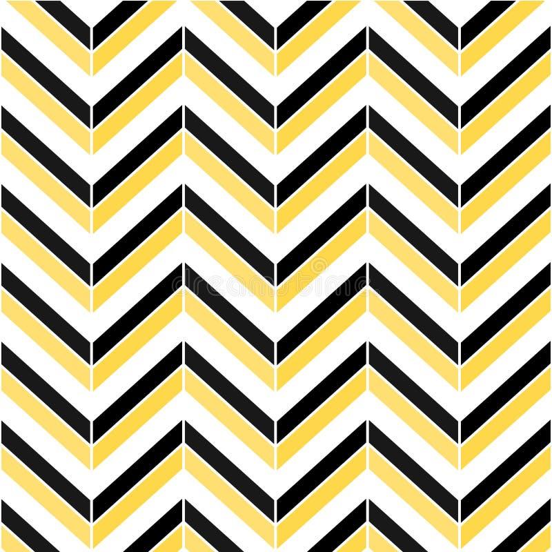 Modelo inconsútil colorido de la raspa de arenque Textura del negro, del blanco y del amarillo del zigzag libre illustration