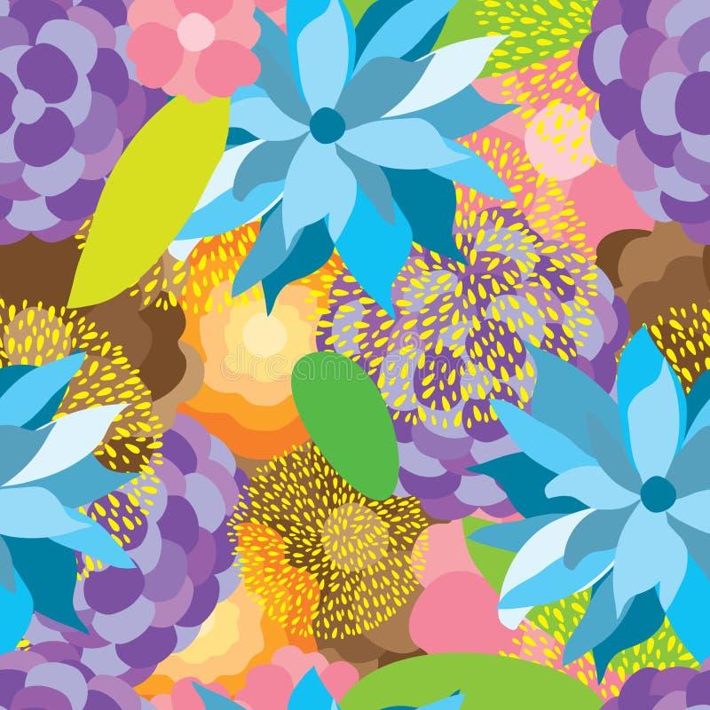 Modelo inconsútil colorido de la tela de la flor ilustración del vector