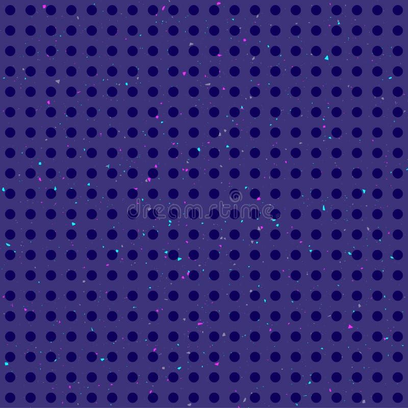 Modelo inconsútil colorido de los lunares abstractos en fondo azul marino del grunge stock de ilustración