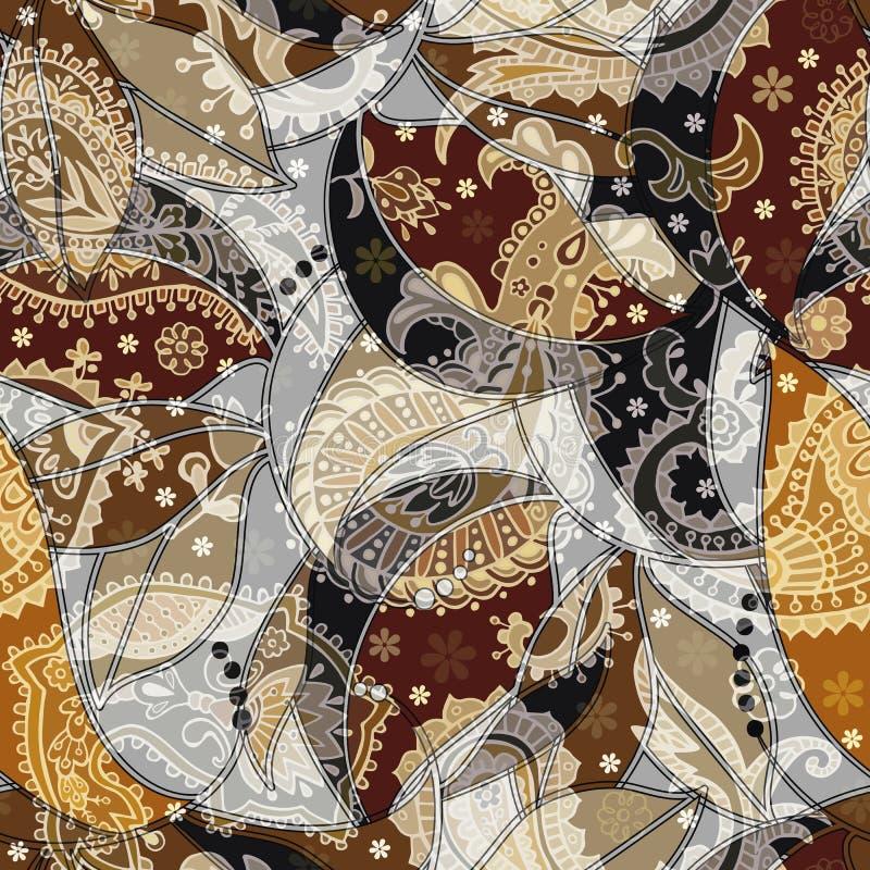 Modelo inconsútil colorido de Paisley Contexto ornamental indio ilustración del vector