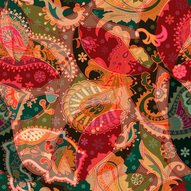 Modelo inconsútil colorido de Paisley Contexto ornamental indio stock de ilustración