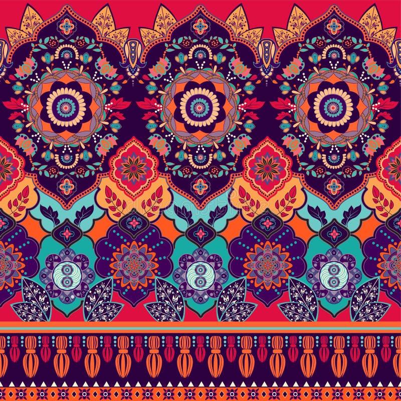 Modelo inconsútil colorido de Paisley Ornamento indio decorativo Papel pintado ornamental stock de ilustración