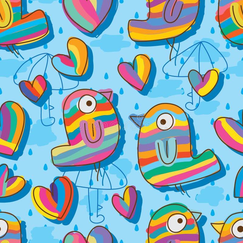 Modelo inconsútil colorido del azúcar del amor del pájaro ilustración del vector