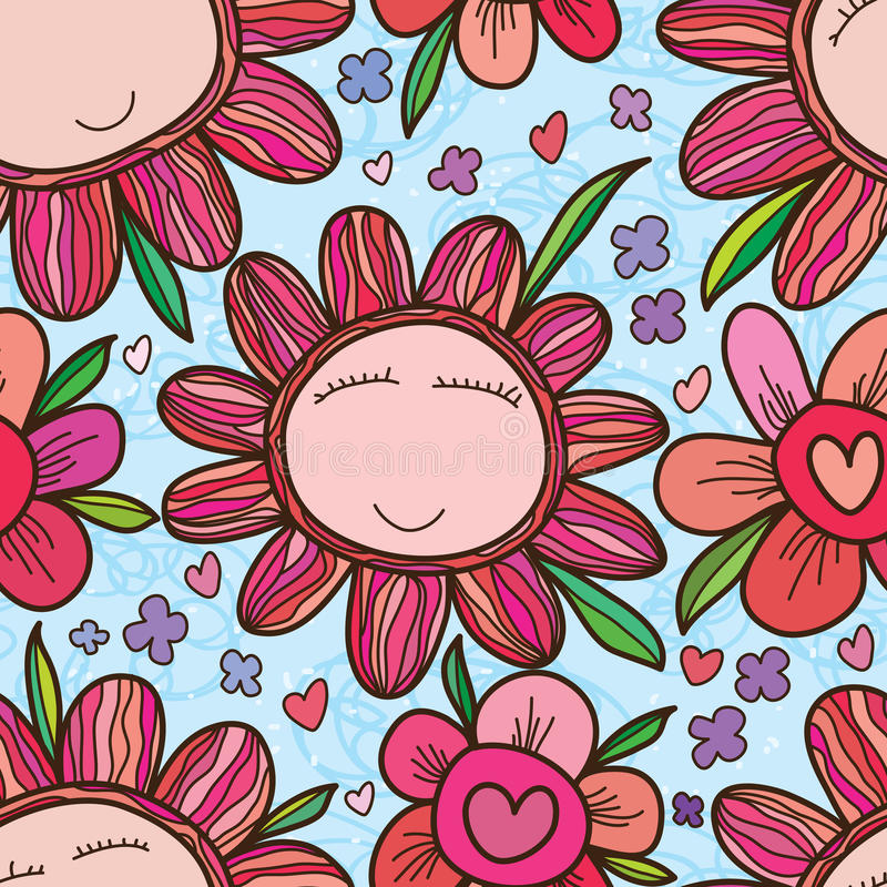 Modelo inconsútil colorido del marco de la cara de la flor libre illustration