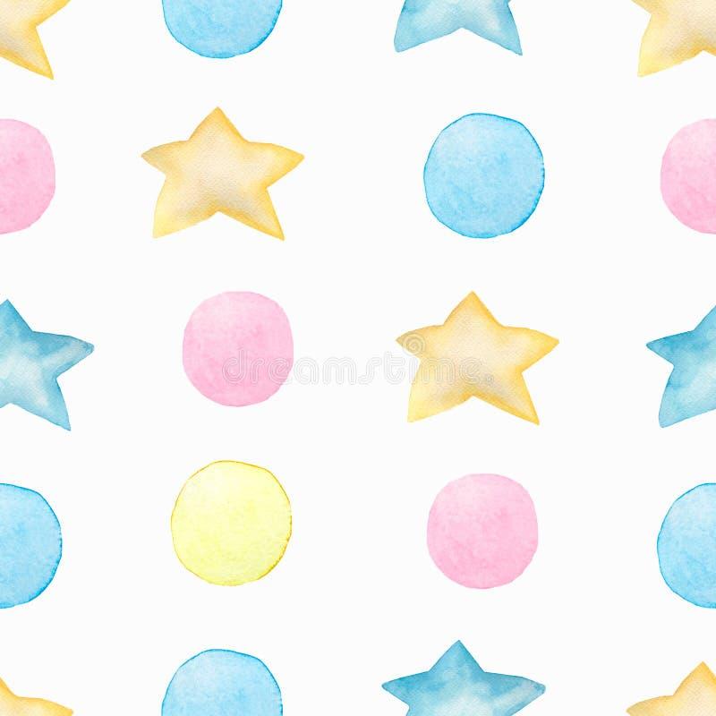 Modelo inconsútil colorido del niño de la acuarela con el lunar y las estrellas Ejemplo exhausto de los niños del collage del vin libre illustration