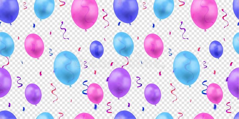 Modelo inconsútil colorido del vector con los globos y Serpentine Coils Isolated brillantes, plantilla del fondo del cumpleaños libre illustration