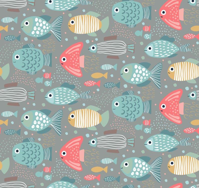 Modelo inconsútil colorido del vector con los pescados divertidos ilustración del vector