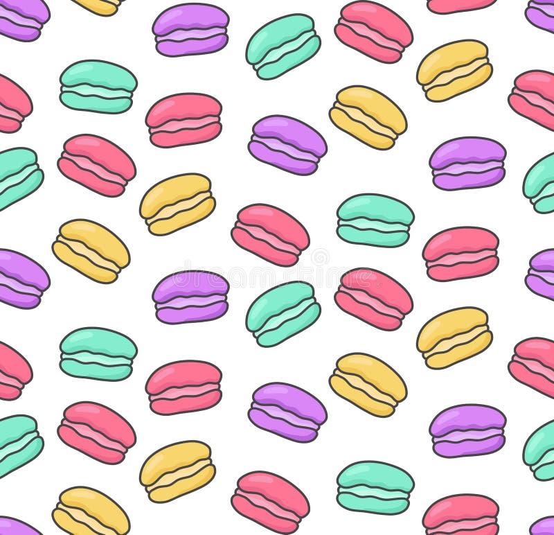 Modelo inconsútil colorido del vector de los dulces de los macarrones ilustración del vector