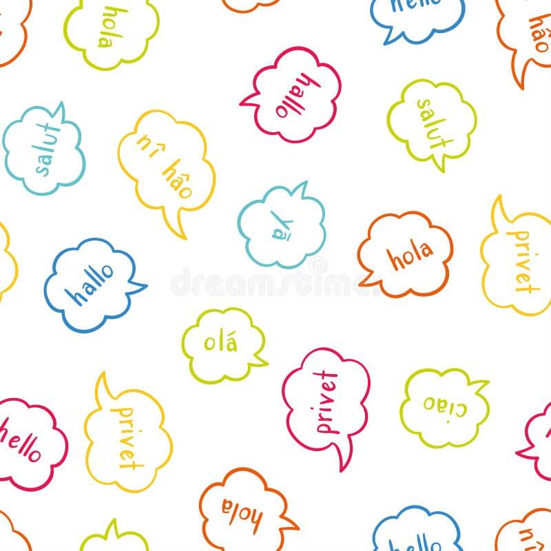 Modelo inconsútil colorido multilingüe de la diversión - saludando en las diversas idiomas, conversación, fondo de la comunicació stock de ilustración