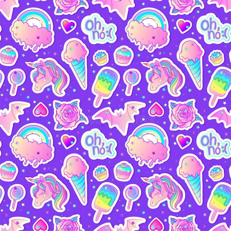 Modelo inconsútil colorido: unicornio, dulces, arco iris, helado, piruleta, magdalena, rosa, palo Ilustración del vector Etiqueta libre illustration