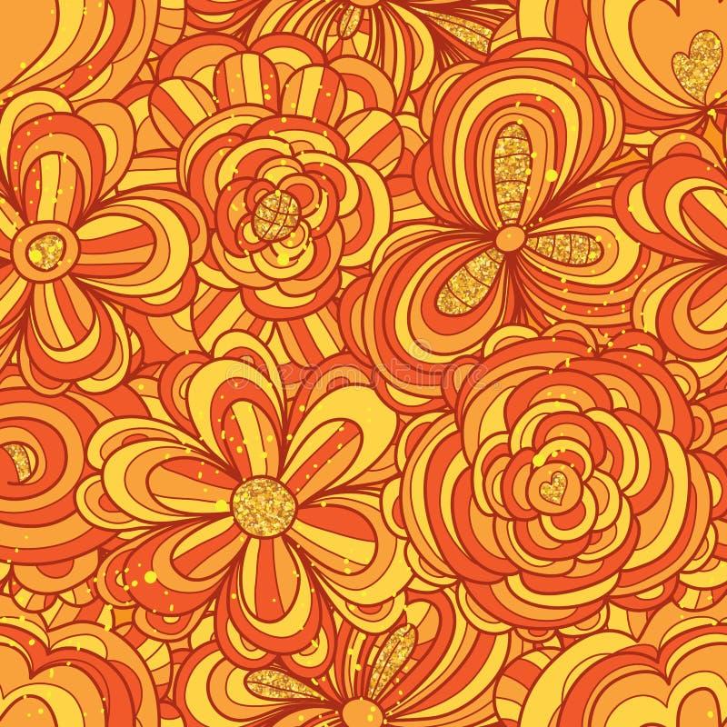 Modelo inconsútil completo del brillo anaranjado de la flor stock de ilustración