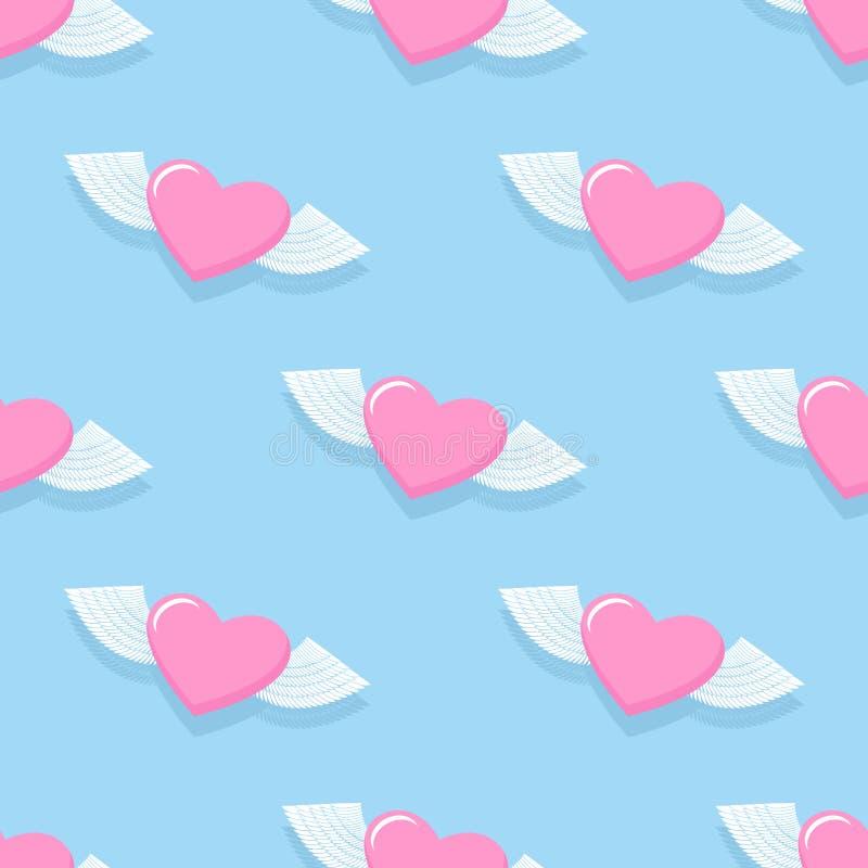Modelo inconsútil con alas del corazón Fondo para el día de tarjeta del día de San Valentín H stock de ilustración