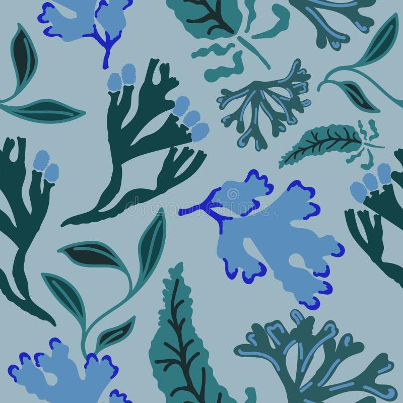Modelo inconsútil con alga marina abstracta Fondo dibujado mano de la repetición Ejemplo plano del estilo ilustración del vector
