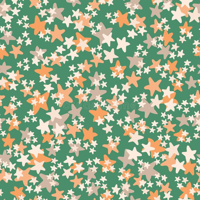 Modelo inconsútil con blanco, naranja, estrellas beige del vector en fondo verde Impresión ditsy de la estrella de la diversión,  ilustración del vector