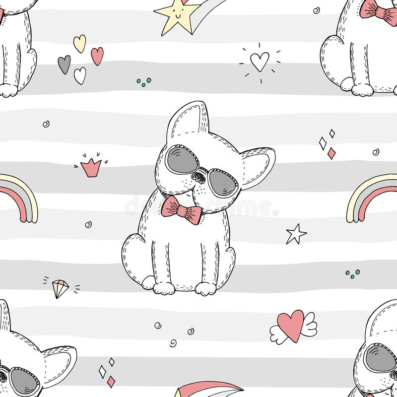 Modelo inconsútil con bosquejo blanco y negro de un perro Plantillas imprimibles libre illustration