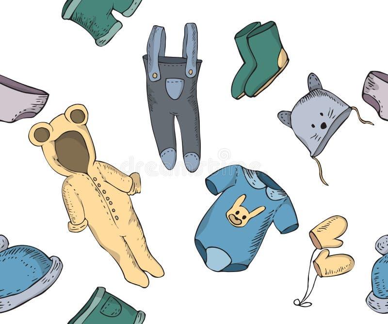 Modelo inconsútil con bosquejos del bebé de la ropa ilustración del vector