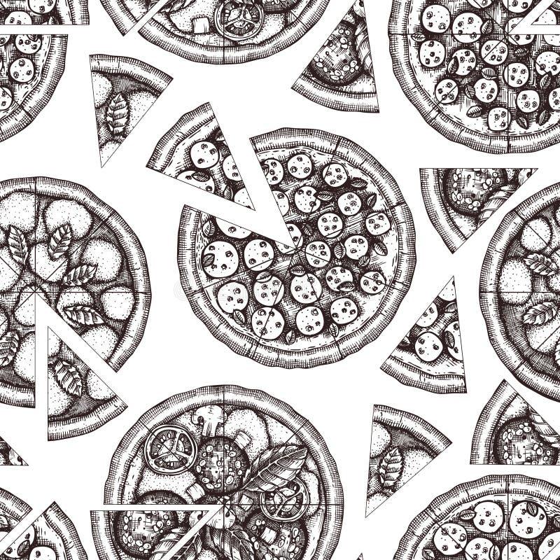 Modelo inconsútil con bosquejos exhaustos de la pizza de la mano Dibujo italiano de la comida del vector Grabado del fondo de los ilustración del vector